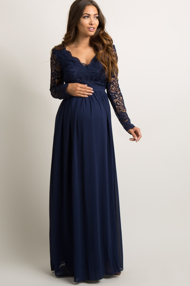 Navy Blue Scalloped Crochet Chiffon Maternity Evening Gown