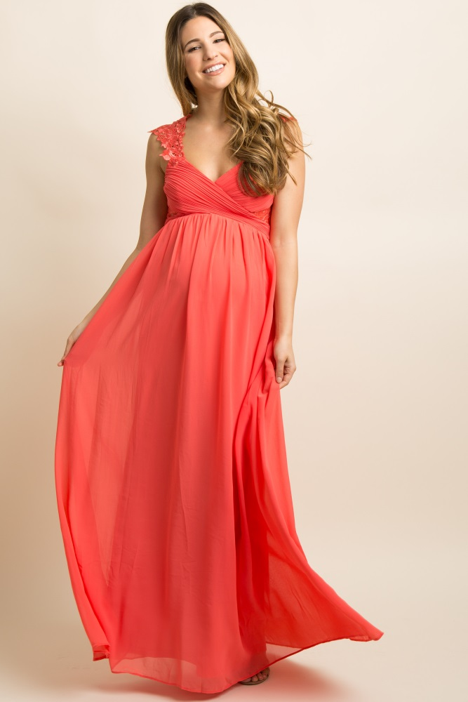 389acdf945ec2 Coral Embroidered Pleated Maternity Evening Gown