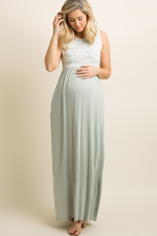 210590b776a Sage Green Lace Overlay Top Maternity Maxi Dress