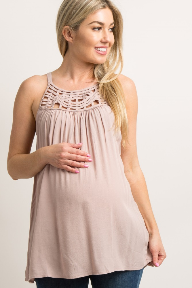 e0e674dcb02 Light Pink Caged Accent Maternity Cami Top