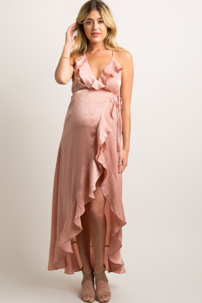 ab20f181619b Pink Satin Wrap Tie Ruffle Trim Maternity Dress