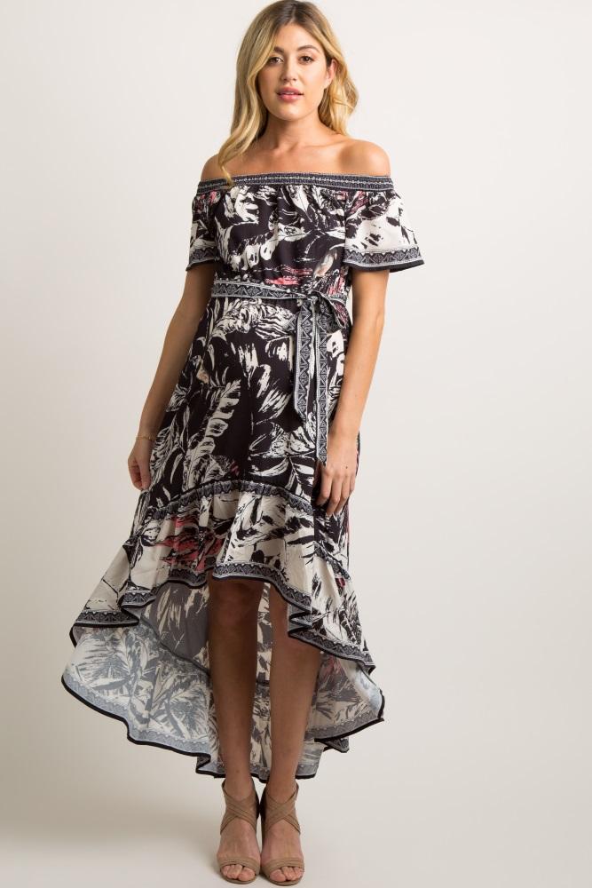4b4aadea72ad Black Abstract Print Hi Low Off Shoulder Maternity Dress