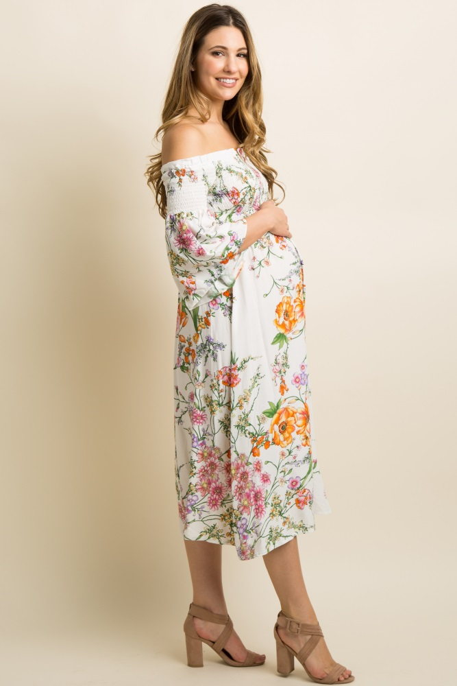 737def196 Ivory Floral Smocked Off Shoulder Maternity Midi Dress