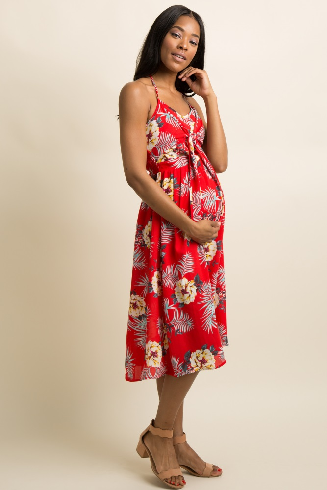 aecb832b6fc06 Red Tropical Print Cutout Tie Front Halter Maternity Midi Dress
