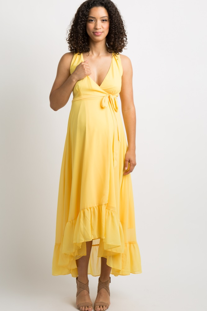c8428d18a633d Yellow Ruffle Trim Wrap Tie Maternity Maxi Dress