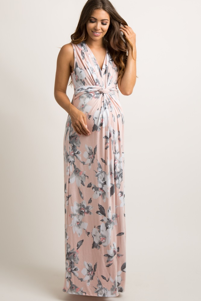 56b3fdd0eee Light Pink Floral Sleeveless Knot Front Maternity Maxi Dress