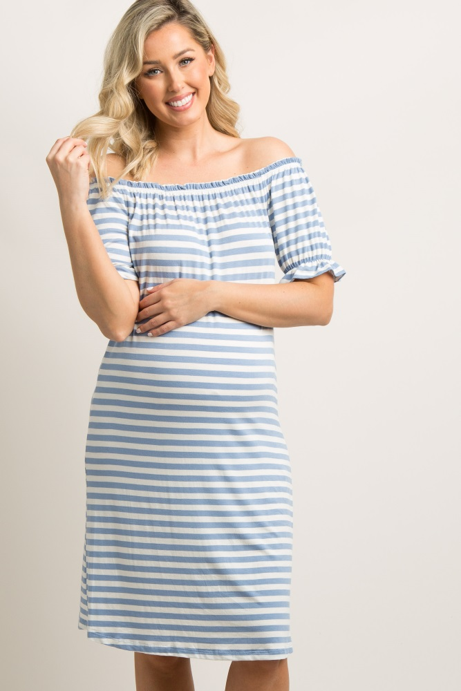 ffc7fd17533d Blue Striped Ruffle Off Shoulder Maternity Dress