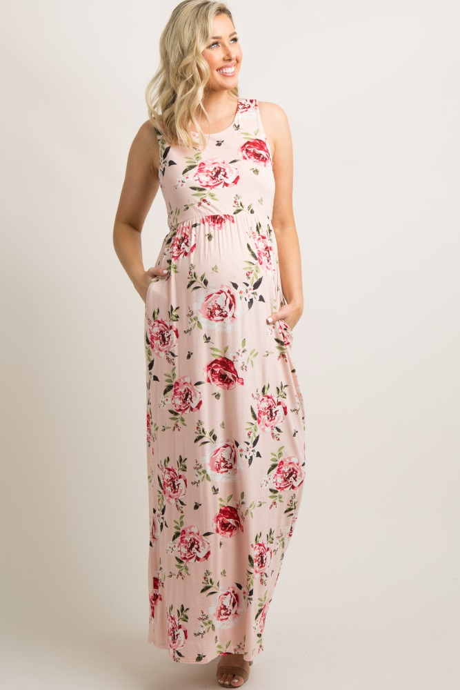 df5a2f06a051c Pink Rose Print Sleeveless Maternity Maxi Dress