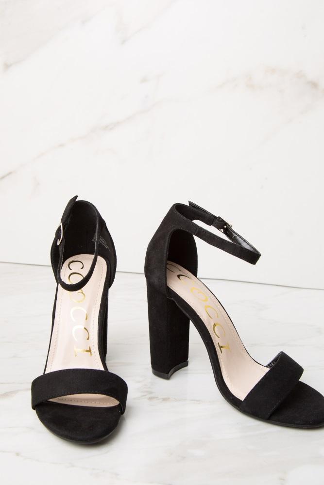 05c05deb063bf Black Faux Suede Ankle Strap Block Heel