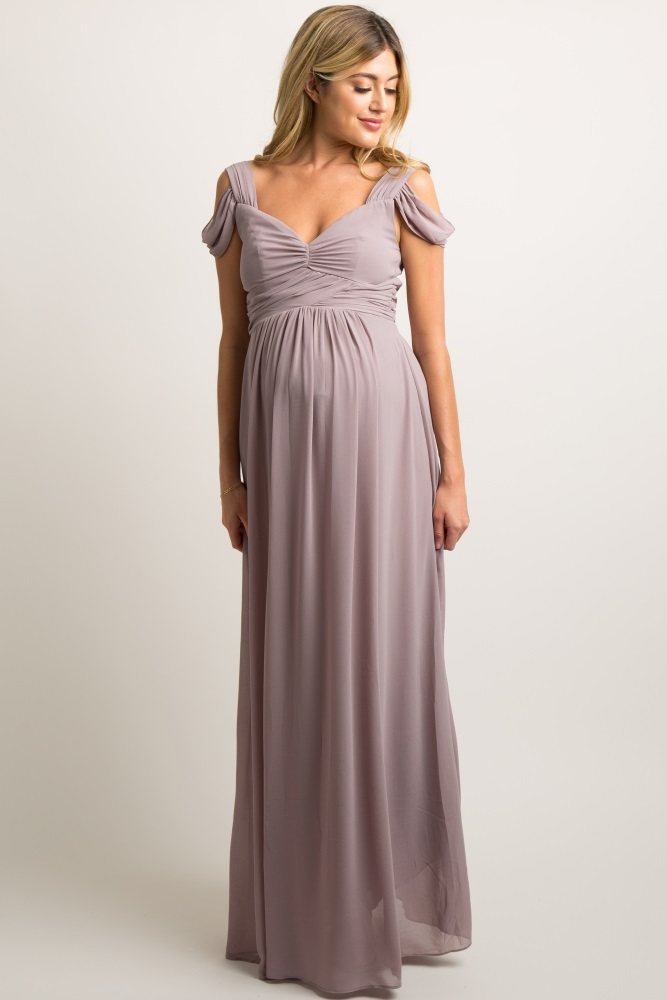 9804e85a1bfe6 Taupe Chiffon Pleated Open Shoulder Maternity Evening Gown