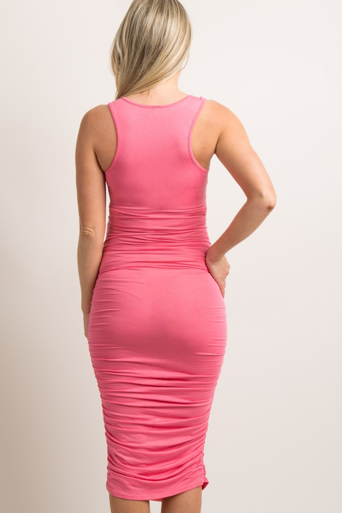 03d0042d58afc Coral Solid Ruched Fitted Maternity Midi Dress