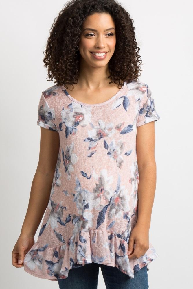 c148b460e23 Light Pink Floral Ruffle Trim Maternity Tunic