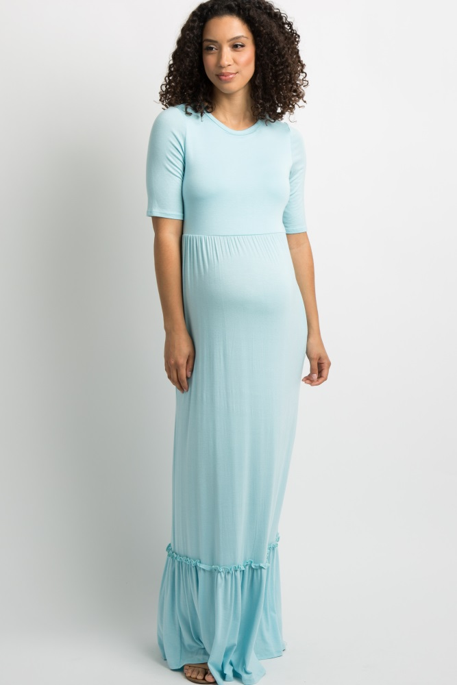 c3a39b22455 Light Blue Solid Ruffle Trim Maternity Maxi Dress