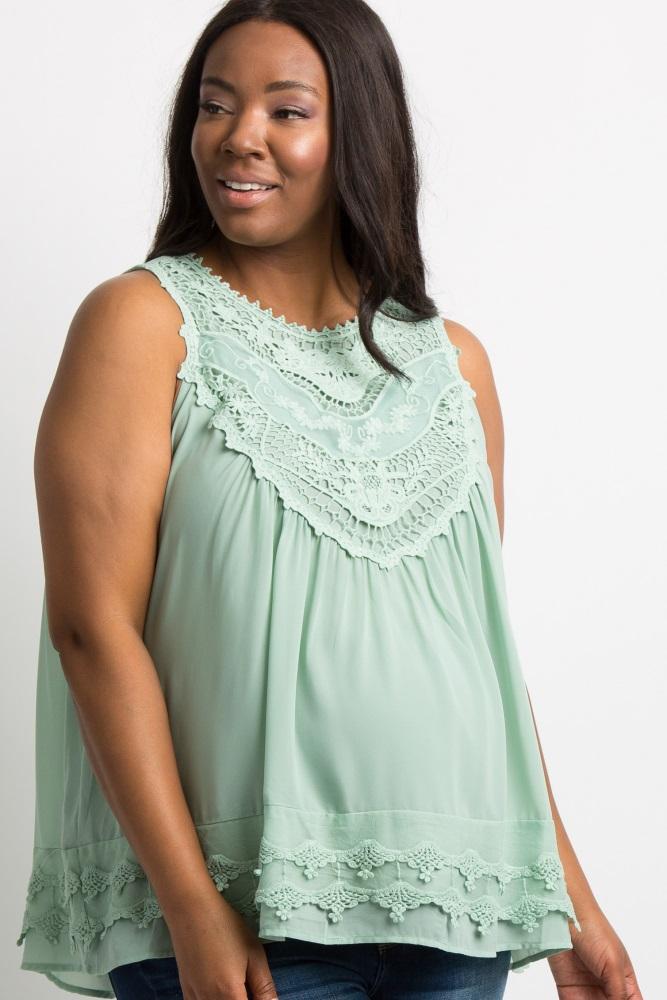 050cbcab68be51 Mint Crochet Neck Chiffon Maternity Plus Blouse