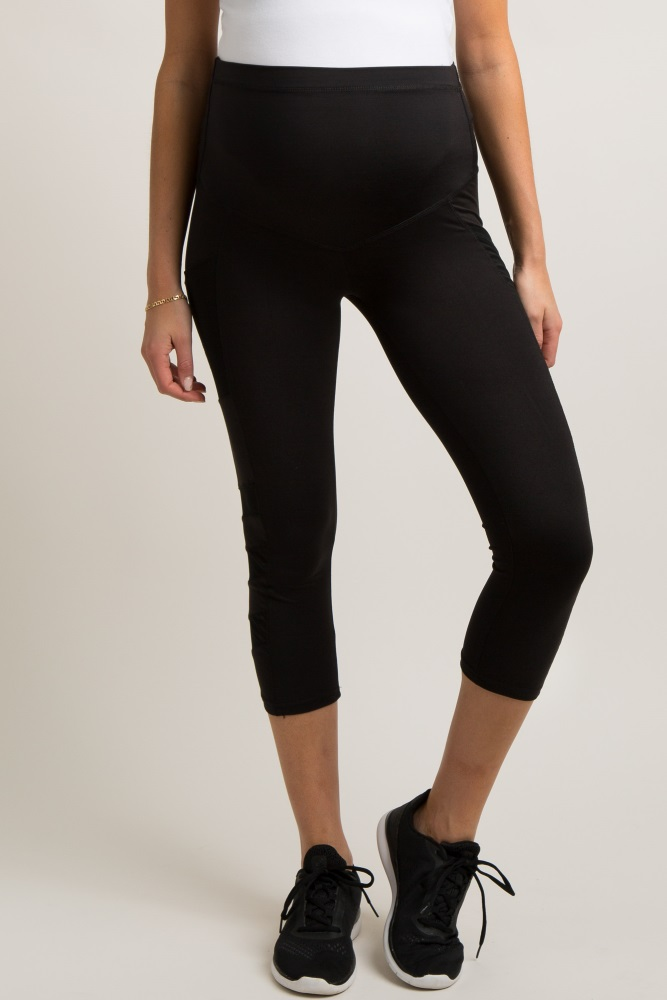 090dbd8c597244 Black Cropped Mesh Side Active Maternity Leggings