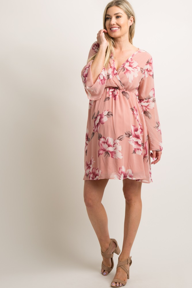 79ae868f898c Mauve Floral Chiffon Wrap Maternity Dress