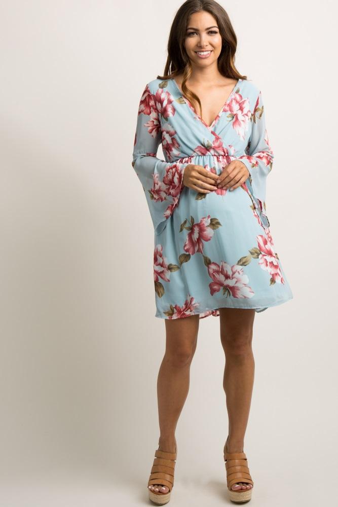 ae611970b8ffd Light Blue Floral Chiffon Wrap Maternity Dress