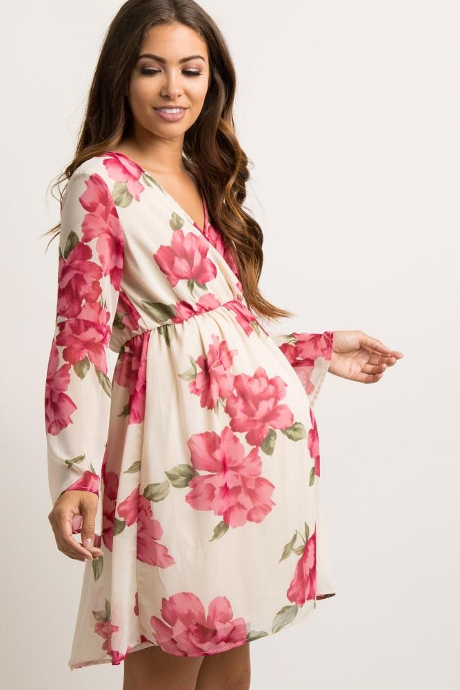 3efd20d434eec Ivory Floral Chiffon Wrap Maternity Dress