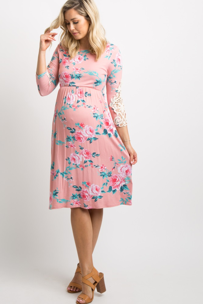Pink Floral Crochet Sleeve Maternity Dress