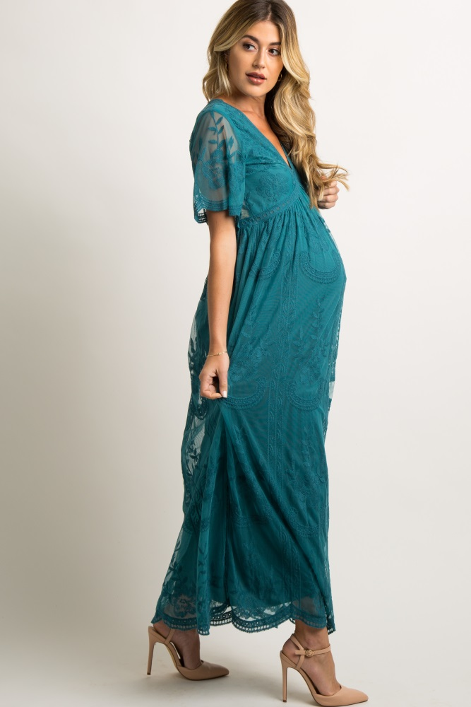 da62b5866f6c0 Teal Lace Mesh Overlay Maternity Maxi Dress