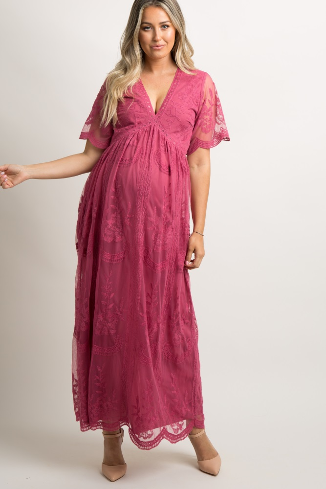 d803004144bbd Magenta Lace Mesh Overlay Maternity Maxi Dress