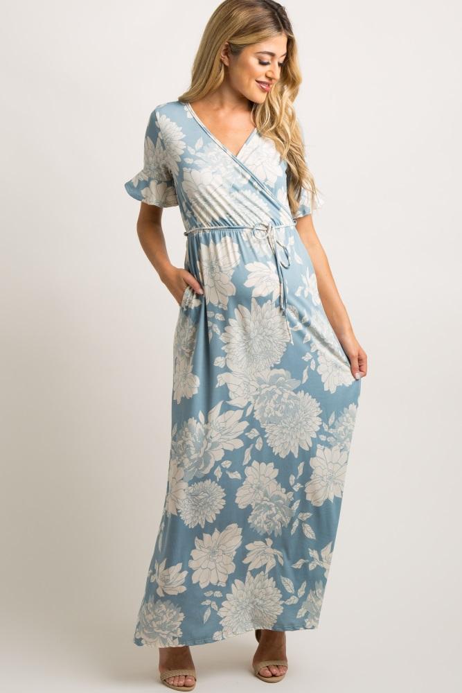 71174cef2e3 Light Blue Floral Print Ruffle Sleeve Maternity Maxi Dress