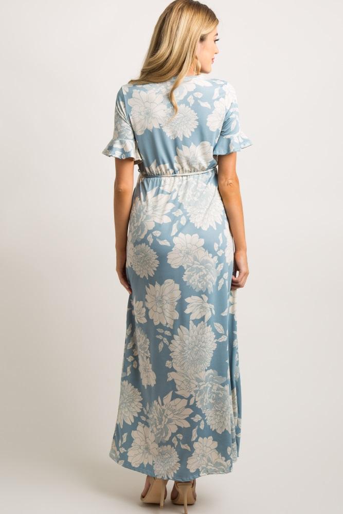 c02426180505 Light Blue Floral Print Ruffle Sleeve Maternity Maxi Dress
