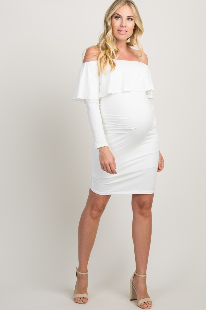 309674738cb76 White Ruffle Trim Off Shoulder Fitted Maternity Dress