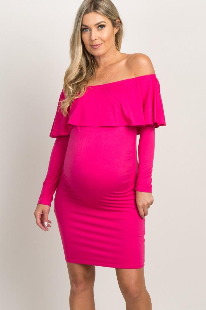 4ed7dac505 Magenta Ruffle Trim Off Shoulder Fitted Maternity Dress