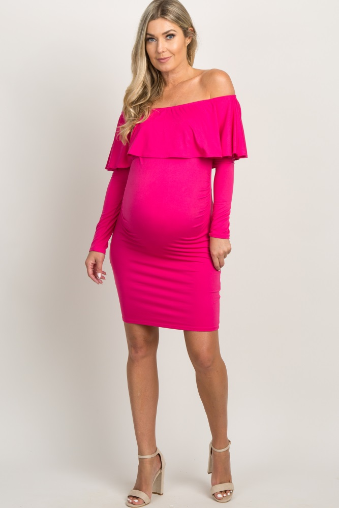ffb1dd1a6f28e Shoptagr | Light Pink Layered Ruffle Off Shoulder Fitted Maternity ...