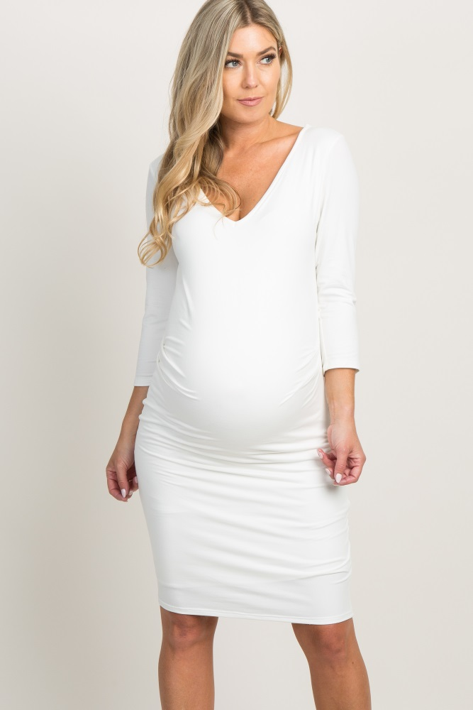 ba8d7b16945 White V Neck 3 4 Sleeve Maternity Dress