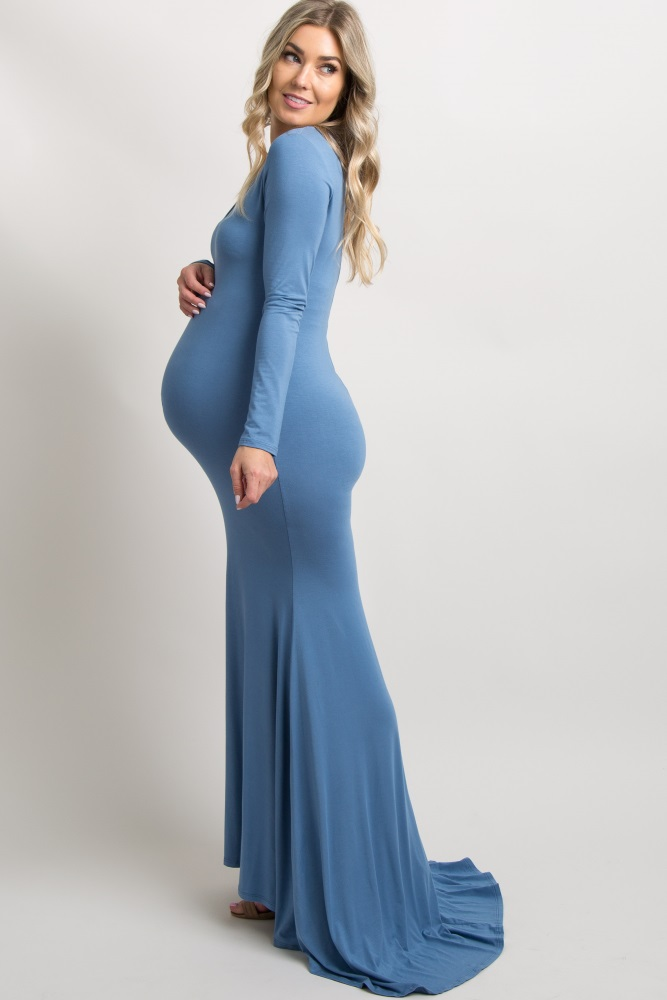 383f4939a51 Blue Long Sleeve Photoshoot Maternity Gown Dress
