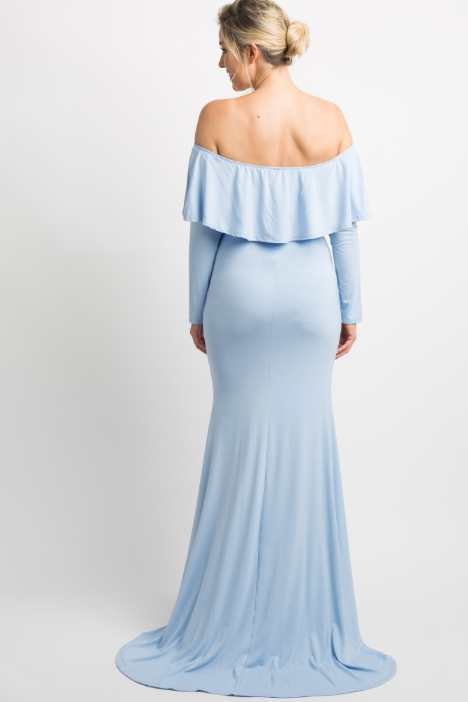 e4a96a638ee Blue Off Shoulder Ruffle Maternity Photoshoot Gown Dress