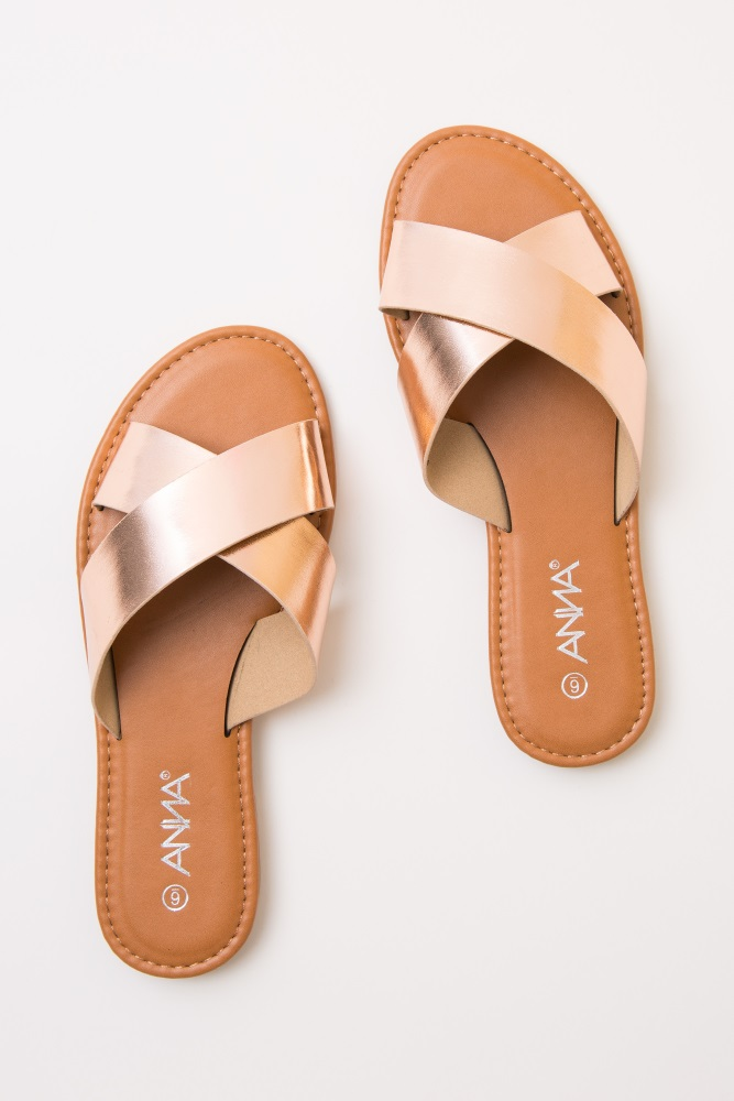 8fba0aac1e0a Rose Gold Faux Leather Crisscross Slide Sandals