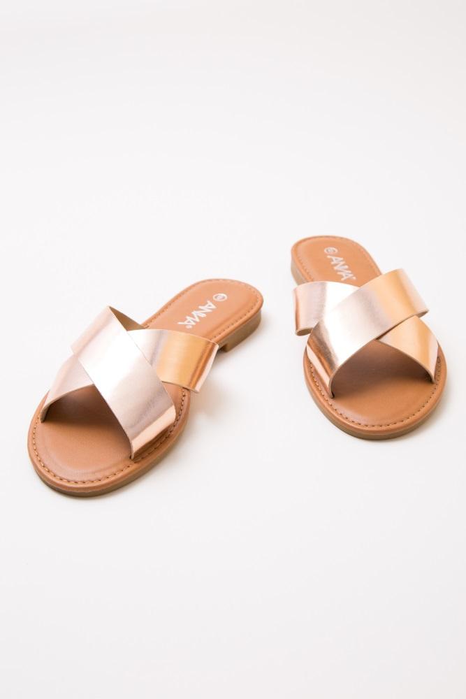 fe5b6e4815fb Rose Gold Faux Leather Crisscross Slide Sandals