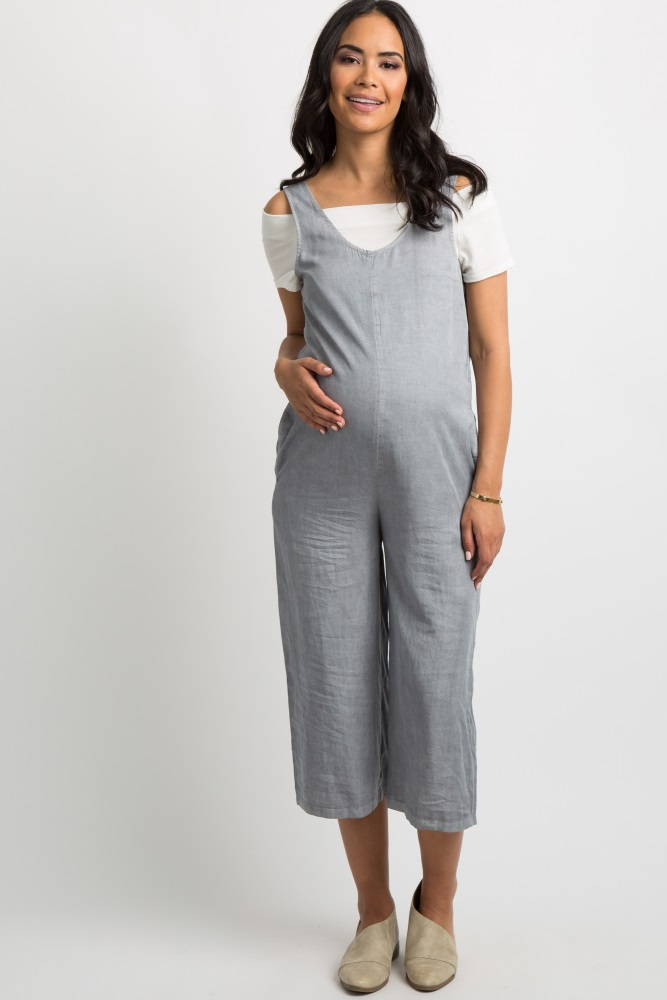 76f1caf4b4a7 Grey Faded Chambray Maternity Jumpsuit