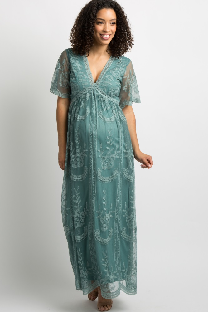 99b8964824e84 Sage Lace Mesh Overlay Maternity Maxi Dress