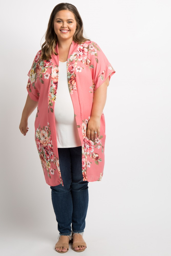 e185a9b1462 Coral Floral Print Pleated Plus Maternity Kimono