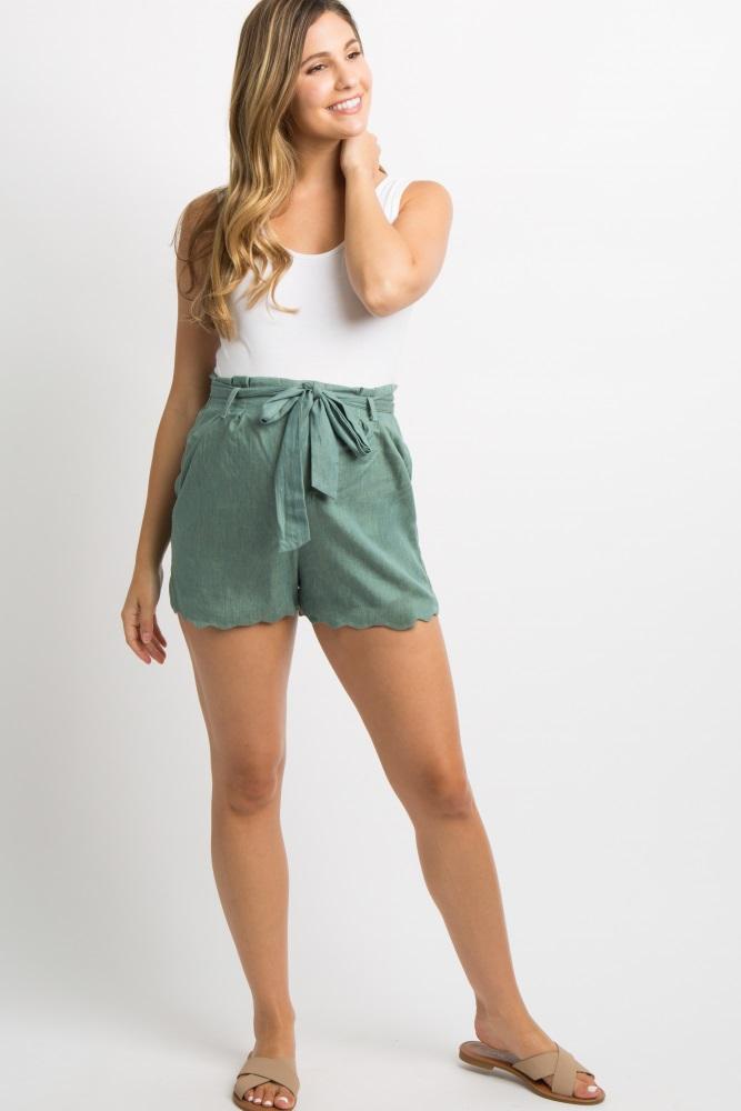 green chambray scalloped sash tie maternity shorts