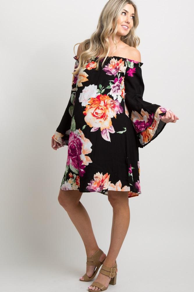 3c8b429da4 Black Floral Bell Sleeve Off Shoulder Maternity Dress