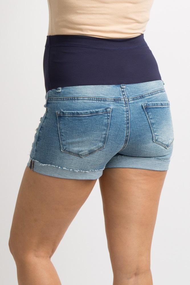 9b1416fc9b Light Blue Distressed Cuffed Maternity Jean Shorts