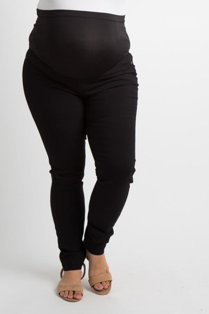 c03987d275b1a Black Solid Plus Maternity Pants