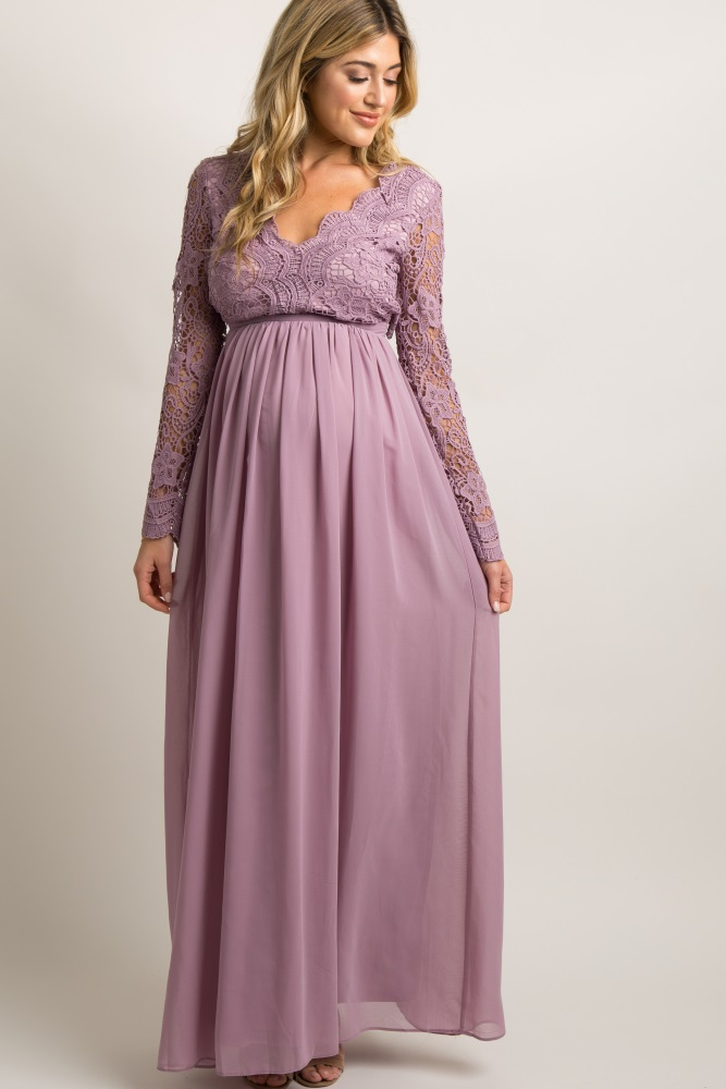 82c25e4b24 Mauve Scalloped Crochet Chiffon Maternity Evening Gown
