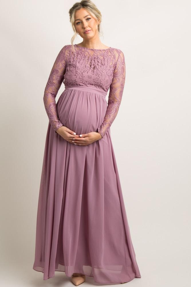 521f1dde54d Mauve Lace Trim Open Back Maternity Evening Gown