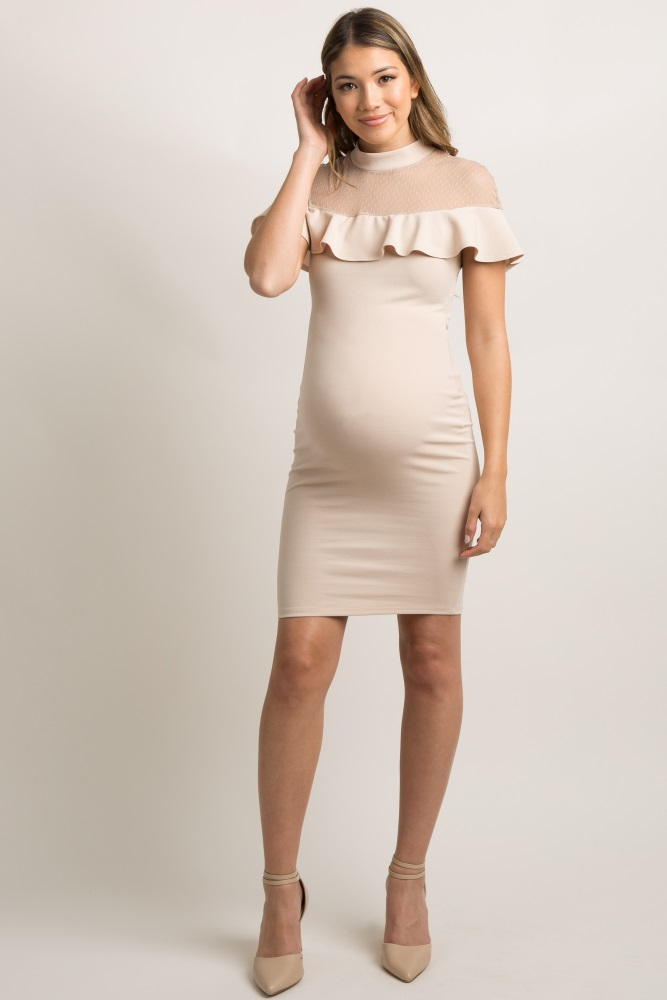 bb49b2a412fff Taupe Mesh Accent Ruffle Trim Fitted Maternity Dress