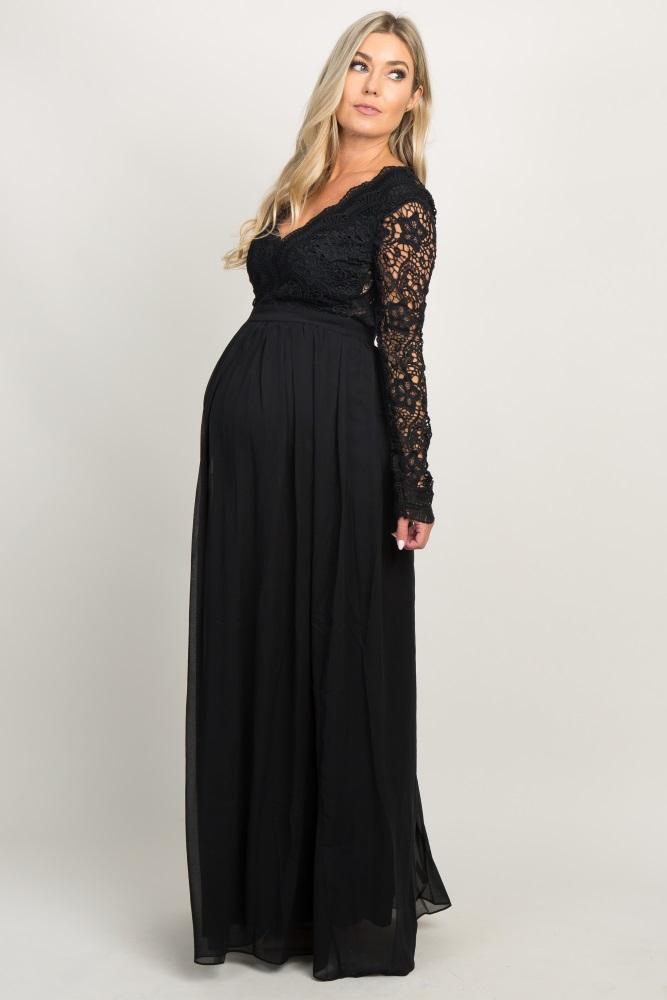 1f7ee3c425e15 Black Scalloped Crochet Chiffon Maternity Evening Gown