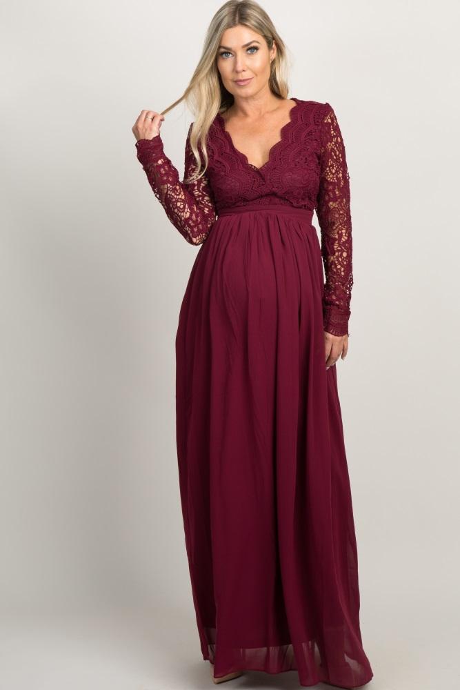 94ac4e6f7f701 Burgundy Scalloped Crochet Chiffon Maternity Evening Gown