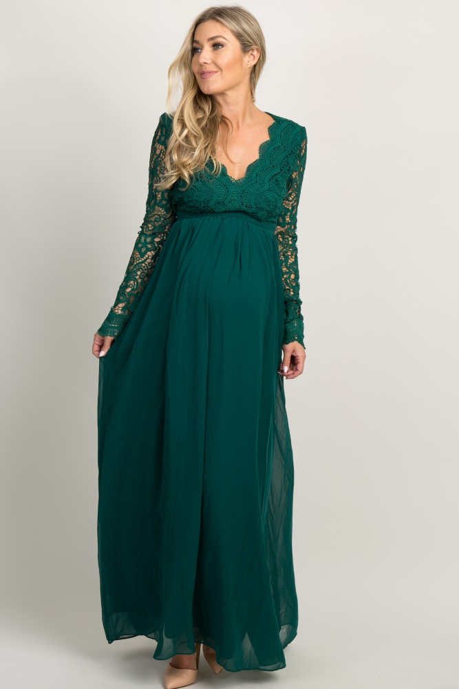dd0f80078f27 Forest Green Scalloped Crochet Chiffon Maternity Evening Gown