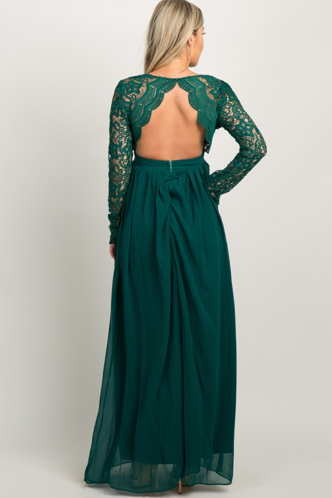 4070130ea8729 Forest Green Scalloped Crochet Chiffon Maternity Evening Gown