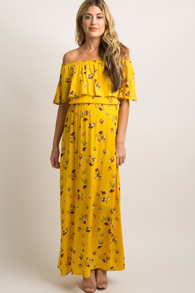 9311aabf6ccdd6 Yellow Floral Ruffle Off Shoulder Maternity Maxi Dress